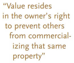 """""""Value resides in the owner's right to prevent others from commercializing that same property"""""""