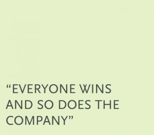 """Everyone wins and so does the company"""