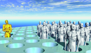 Generated image of grey humanoid statues