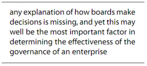 Any explaination of how boards make decisions is missing, and yet this may well be the most important factor in determining the effectiveness of the governance of an enterprise