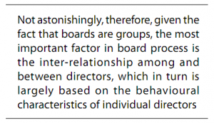 Not astonishingly, therefore, given the fact that boards are groups, the most important factor in board process is the inter-relationship among and between directors, which in turn is largely based on the behavioural characteristics of individual directors