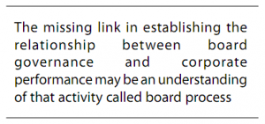 The missing link in establishing the relationship between board governance and corporate performance may be an understanding of that activity called board process