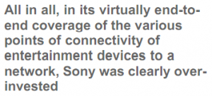 All in all, in its virtually end-to-end coverage of the various points of connectivity of entertainment devices to a network, Sony was clearly over-invested