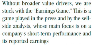 "Quote on ""earnings game"""