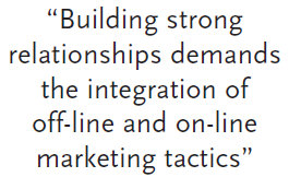 """Building strong relationships demands the integration of off-line and on-line marketing tactics"""