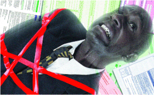 Image of a man tied in red tape