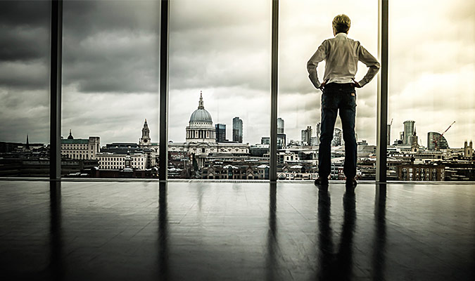 Person looking at cityscape
