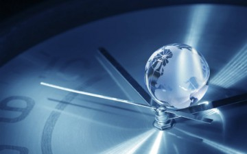 Image of a glass globe on a clock