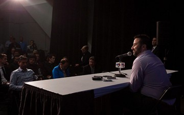 Image of Alex Anthopoulos speaking to the media