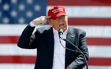"Image of Donald Trump wearing a ""Make America Great Again"" hat"