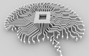 Generated image of a brain as a hard drive