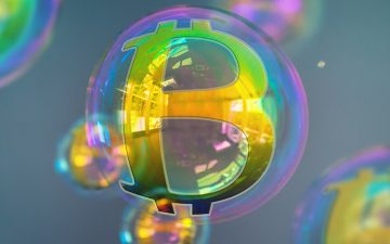 Image of a bubble with a golden Bitcoin symbol