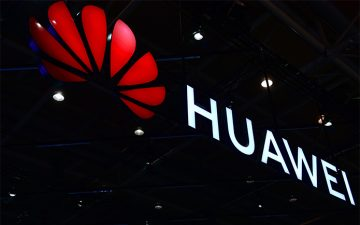 The Huawei logo displayed at the 2018 CeBIT technology trade fair
