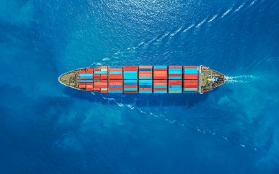 Aerial top view container ship Park for import export logistics in pier, thailand.